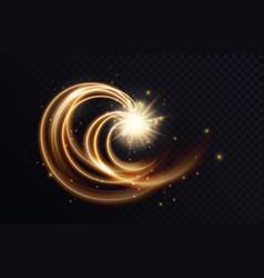 Golden luminous swirl shape abstract light effect vector