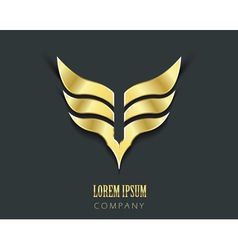 Golden wings graphic symbol vector image