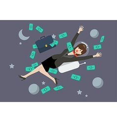 Greedy business woman floating in space vector