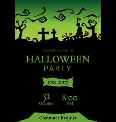 green halloween party roughen gradient greeting vector image