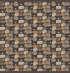 hand drawn bears pattern background vector image