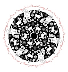 Hand drawn pattern with Santa Claus deer and vector image
