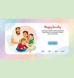 happy family leisure web banner template vector image