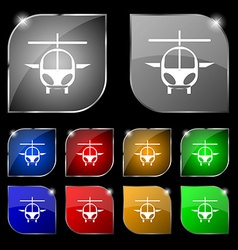 Helicopter icon sign Set of ten colorful buttons vector