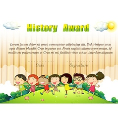 History award template with children in the park vector