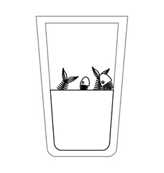 Isolated fish inside dirty water glass design vector