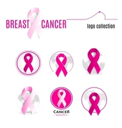 Isolated pink color ribbon in a circle logo set vector