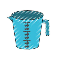 jar with handle and measure scale colored crayon vector image
