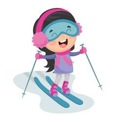 Kid skiing vector