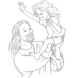 laughing jesus holds happy child coloring page vector image