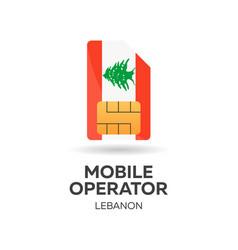Lebanon mobile operator sim card with flag vector