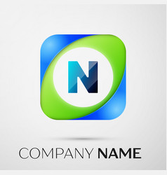 Letter n logo symbol in the colorful square vector