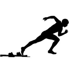 Male athlete start from starting blocks sprint vector