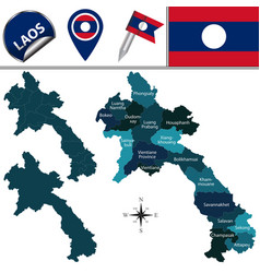 Map of laos with named provinces vector