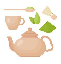 Matcha tea flat icon set vector