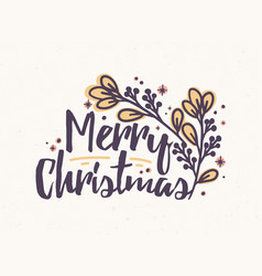 Merry christmas lettering written with elegant vector