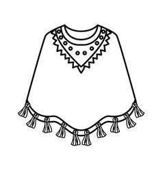 Mexican poncho isolated icon vector