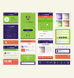Mobile apps screen elements set vector