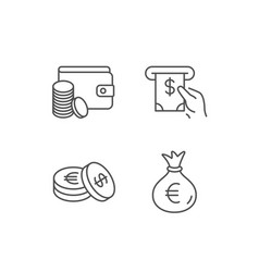Money bag cash and wallet line icons coins vector