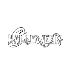 monochrome hand-drawn halloween lettering vector image