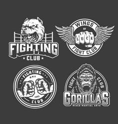 Monochrome vintage fighting logos vector
