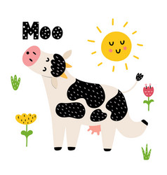 moo card with a funny cow vector image