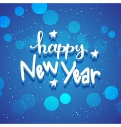 New Year hand drawn lettering on blue background vector