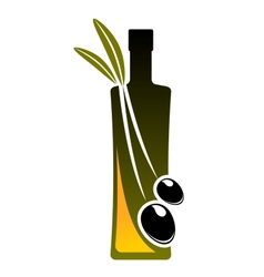 Olive oil icon with a bottle and fresh olives vector image