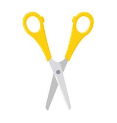 open scissors with yellow plastic handles vector image