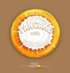 Pancake with a splash of sour cream isolated o vector