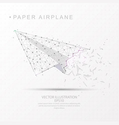 Paper airplane shape digitally drawn low poly vector