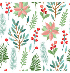 Pattern with winter evergreen plants vector