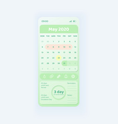 Period tracker smartphone interface template vector