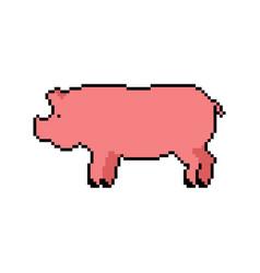 Pig pixel art piglet 8 bit swine farm animal vector