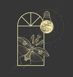 Praying mantis and full moon like light bulb vector