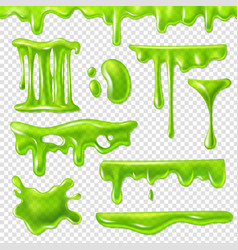 Realistic green slime slimy toxic blots goo vector