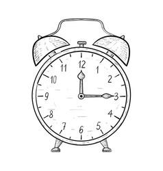 Retro alarm clock hand drawn sketch quarter past vector