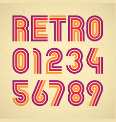 Retro style alphabet numbers vector