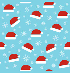 santa hats seamless christmas pattern vector image
