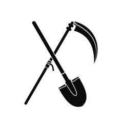 Scythe and shovel icon vector