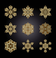 set golden ornament element in the form of a vector image