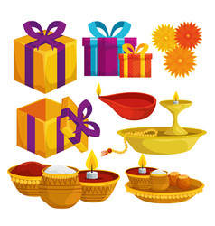 Set hindu traditional decoration and event vector