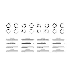 set loading bar progress icons isolated on white vector image