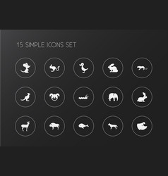 set of 15 editable zoo icons includes symbols vector image