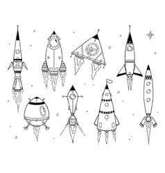 Set of cartoon space ships rockets vector