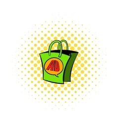 Shopping bag with AD letters icon comics style vector image
