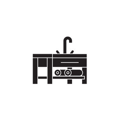 sink with a faucet black concept icon sink vector image