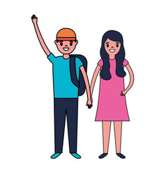 smiling boy and girl holding hands vector image