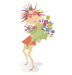 smiling woman holds a big bouquet of flowers carto vector image