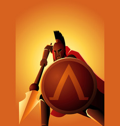 Spartan warrior with his spear and shield vector